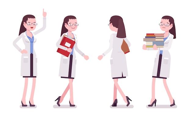 Female scientist walking