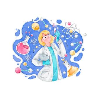Женщина-ученый с атомами и формулами