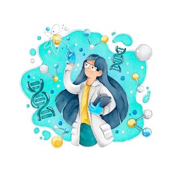 Женщина ученый с длинными волосами и очками