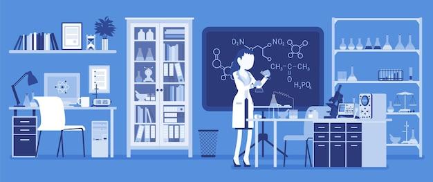 研究室で働く女性科学者。白いコートを着た女性、科学研究者は物理自然科学の研究を行っています。教育と科学の概念。