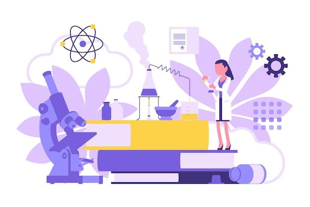 Женский ученый, работающий с колбами