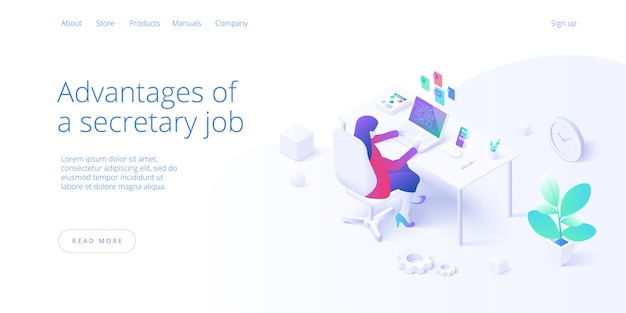 Female secretary busy with laptop job in office in isometric . personal assistant workaholic or overworked woman operator multitasking at desk. web banner layout template.