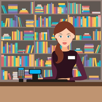Female seller in a bookstore. vector illustration.
