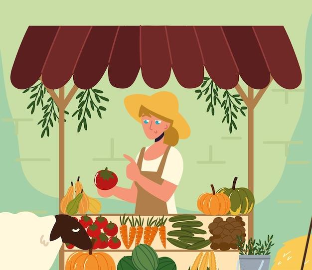 여성 판매자 유기농 현지 생산