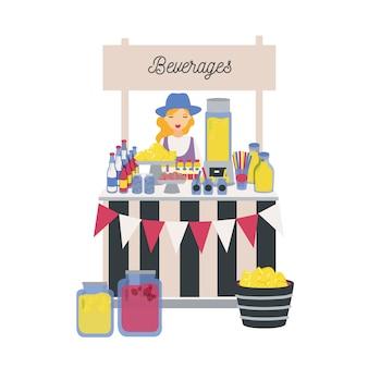 Женский продавец стоит на стойке, в киоске или киоске с лимонами, лимонадом и другими безалкогольными напитками. девушка продает прохладительные напитки на рынке местных фермеров. иллюстрация в плоском мультяшном стиле.