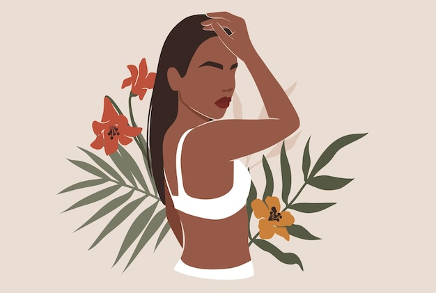 Female shape, abstract woman body in swimsuit illustration.