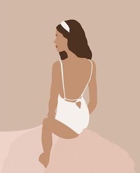 여성 모양. 수영복에 현대 패션 여자입니다.