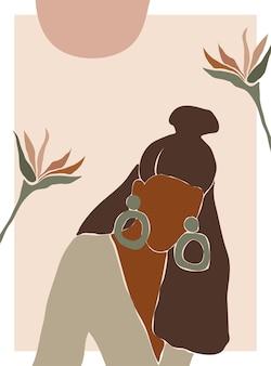 レトロな熱帯の背景の上の女性の形のシルエットパステルカラーの抽象的な女性の肖像画
