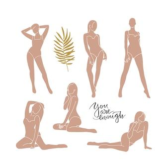 Женские формы абстрактного женского тела в купальнике набор силуэт арт женщины в бикини модная мода
