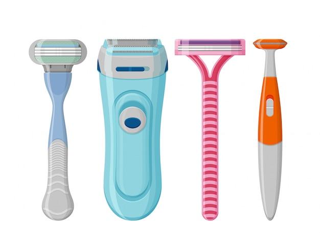 女性の剃毛かみそりは、白い背景に設定します。女性の衛生シェーバー、トリマー、脱毛器。図。