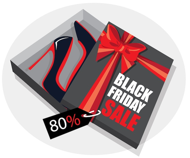 Female shoes in a box with ribbon. black friday sale banner.