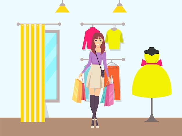 Female shopaholic bags walking from store vector
