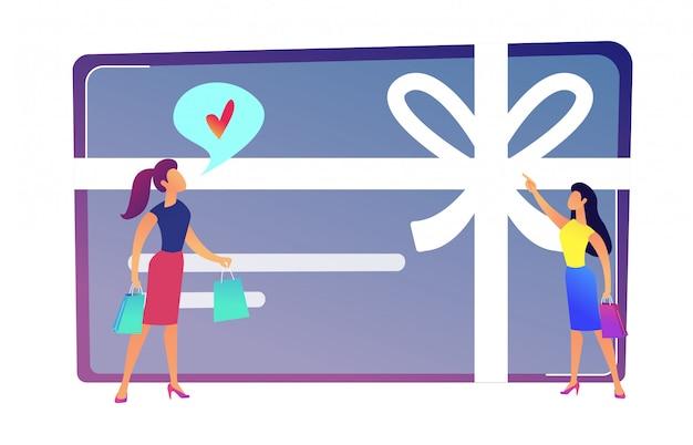 女性の買物客は、弓とリボンのベクトル図とギフトカードが好きです。