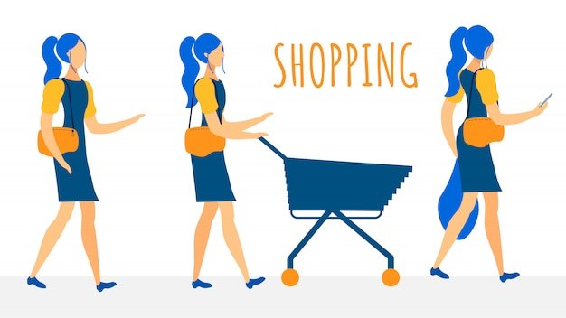 Female shoppers flat vector characters collection