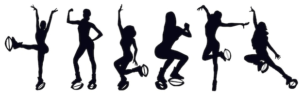 Female silhouettes doing exercises in kangoo jump boots like knee up, jacks, pendulum, seethes, squat, leg swing. zumba and latina dance bounce shoes class. cardio fitness and weight loss, hiit.