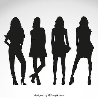 Female silhouettes Premium Vector