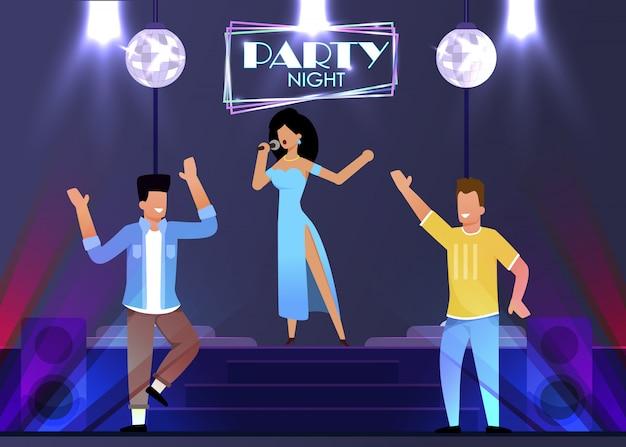 Female singer performance at night club cartoon