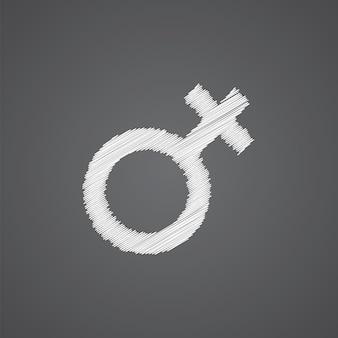Female sketch logo doodle icon isolated on dark background