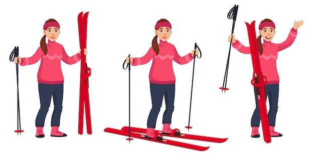 Лыжница в разных позах. красивый персонаж в мультяшном стиле.
