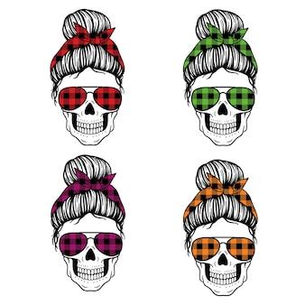 Женский череп с банданой в очках-авиаторах и принтом buffalo plaid messy bun mom lifestyle
