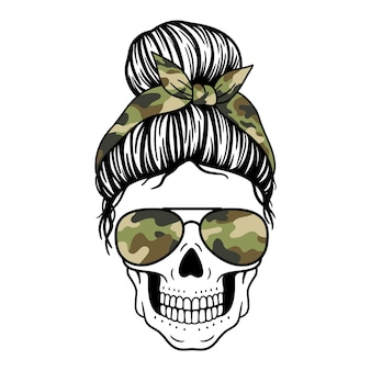 Female skull with aviator glasses bandana and camouflage print mom skull with messy bun