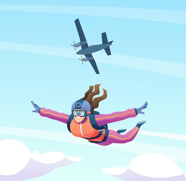 여성 스카이다이버는 비행기에서 점프하고 하늘 그림에서 스카이다이빙을 합니다.