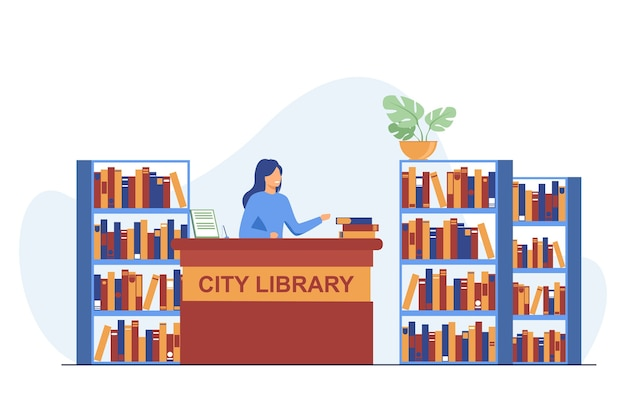 카운터에 서있는 여성 웃는 사서. 책, 선반, 종이 평면 벡터 일러스트 레이 션. 시립 도서관과 지식