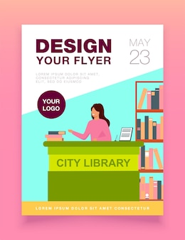 Female smiling librarian standing at counter flyer template