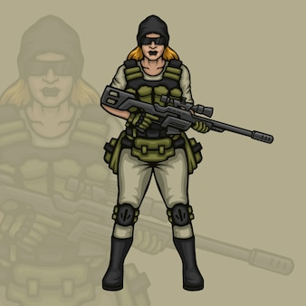 Female sniper gaming character