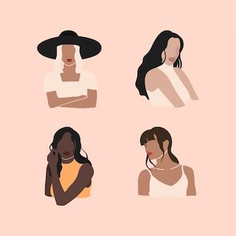 女性のソーシャルメディアインフルエンサーコレクションベクトル