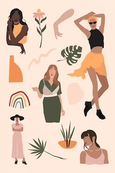 Female social media influencers collection vector