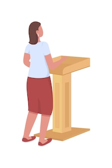Female speaker behind podium semi flat color vector character full body person on white