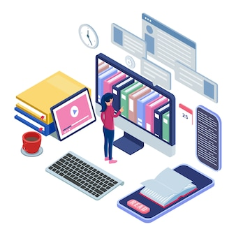 Female stand in front of computer and pick book at the online library. e-learning concept with isometric illustration.