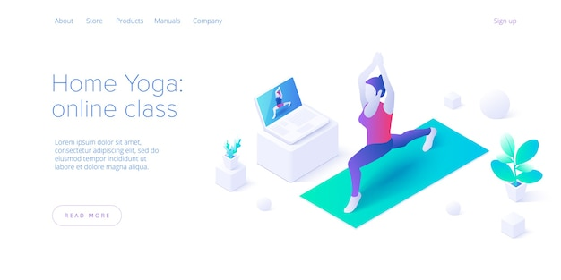 집에 머무는 여성. 필라테스의 요가 온라인 수업은 아이소 메트릭 벡터 디자인으로 포즈를 취합니다. 로터스 위치에서 운동하는 여자와 웰빙 또는 건강한 라이프 스타일에 대한 개념. 웹 배너 레이아웃.