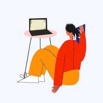 집에서 노트북 앞에서 공부하기 전에 여학생