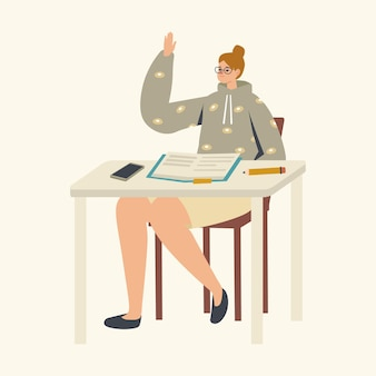 Female student character sitting at desk with textbook raising hand in classroom, girl answer lesson studying in class
