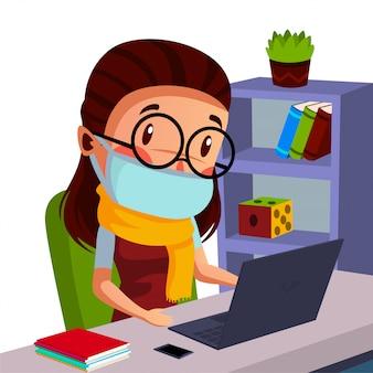 여자 학생은 집에서 공부하는 동안 온라인 수업을