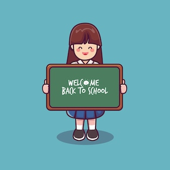A female student holding a black board back to school a cute female schoolgirl vector