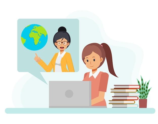 女子学生がインターネットで講義を見ている
