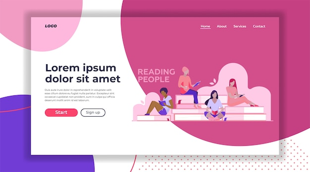 Female students reading books landing page template
