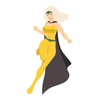 여성 슈퍼 히어로 또는 슈퍼 히어로. 초능력을 가진 금발 여자