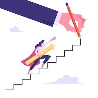 Female superhero or super employee woman holding arrow illustration