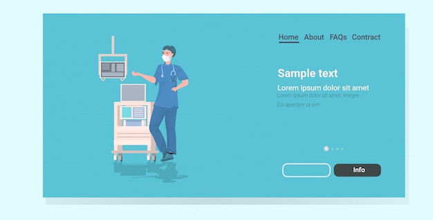 Female surgeon using medical equipment landing page
