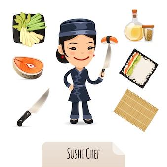 Female sushi chef icons set
