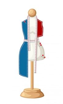 Женский портной манекен незавершенный инструмент для шитья одежды для рукоделия, шитье булавки и измерительная лента, иллюстрация на белом фоне страницы веб-сайта и мобильного приложения