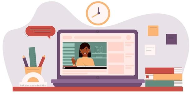 노트북 화면의 여교사 elearning 비디오 자습서 온라인 교육 개념
