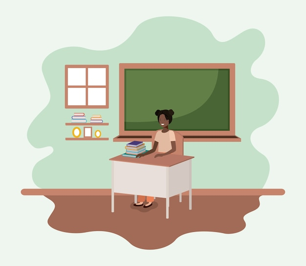Female teacher black in the classroom