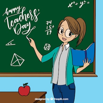 Female teacher by the chalkboard in anime style