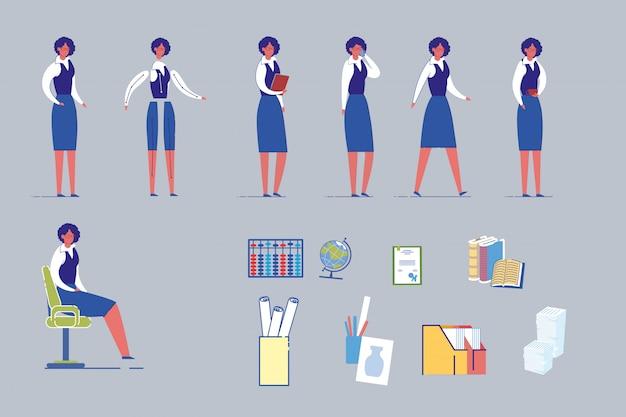 Female teacher character with school supplies set.