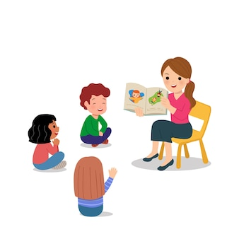 Female teacher doing story telling to kindergarten children. group activity at school or day care. world teacher's day.    on white.